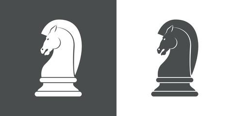Icono plano caballo ajedrez gris