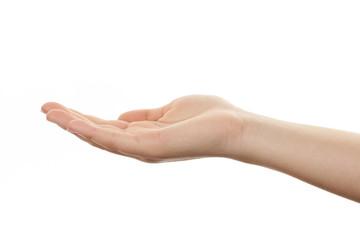 offene Hand einer jungen Frau