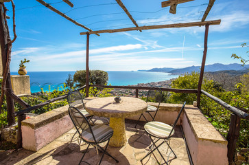 The balcony with sea view/ Ligurian coast, Italy, Europe, Borgio Verezzi/ Verezzi/ holiday/ tourism/ sea view/ Blue