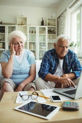 Worried senior couple using laptop