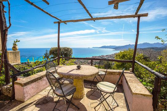 The balcony with sea view/ Ligurian coast, Italy, Europe, Borgio Verezzi/ Verezzi/ holiday/ tourism/ sea view/ Blue