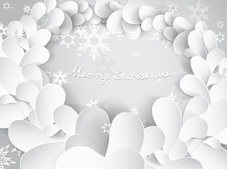 Christmas background with snow flakes, leafs and Merry Christmas