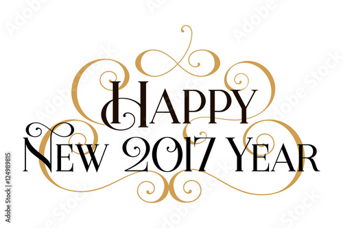 happy new year 2017 handwritten modern brush black text gold swirl white background