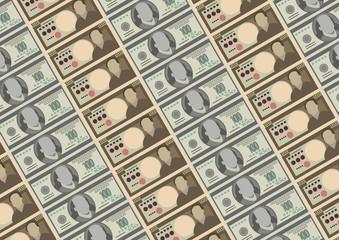 Seamless pattern : dollars and Yen