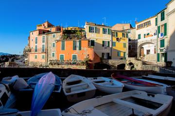 View of small sea village Tellaro near Lerici, La Spezia, Liguria,  Italy, Europe