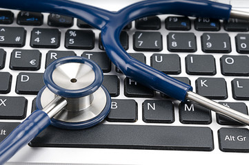 Stethoscope on Keyboard Close up