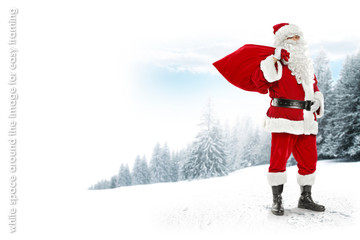 Santa claus on snow and landscape of winter forest. White space around the image for easy framing to website popular resolution.
