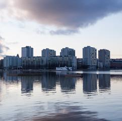 Merihaka residential area at dusk, Helsinki, Finland