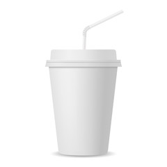Realistic paper cup with straw mockup