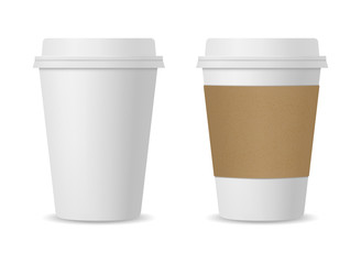 Realistic coffee cup set mockup