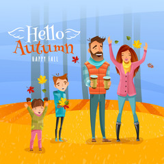 Family And Autumn Season Illustration