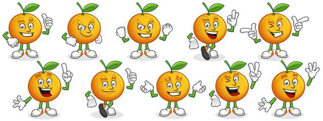 Vector set of Orange mascot. Oranges characters.