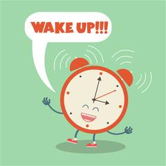 Alarm clock character yelling wake up, Wake up vector poster