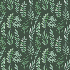 Vector seamless pattern with leaves and branches