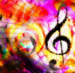 abstract music theme background with music note and clef, modern design. Mosaic effect.