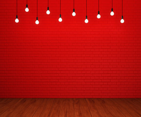Painted brick wall and wooden floor with glowing light bulbs. 3D rendering