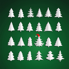 Christmas kit of trees on green background.
