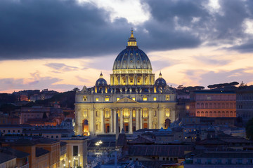Canvas Prints Rome The Basilica of St. Peter at sunset, with the new led lighting.