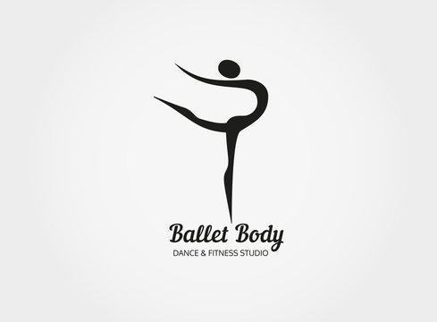 Dance icon concept. Ballet Body studio design template. People character logo. Fitness class banner background with sign symbol of abstract stylized ballerina in dancing pose. Vector illustration.