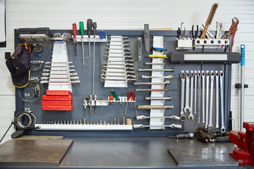tools set at car workshop