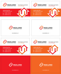 two houses red and orange colors, real estate modern business cards