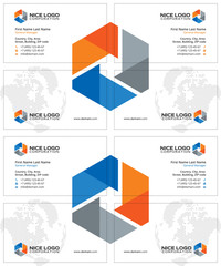 engineering, equipment, construction, business cards white, orange blue and gray colors