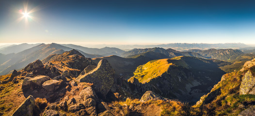 Mountain Landscape in the Evening. View from Mount Dumbier in Low Tatras National Park, Slovakia.