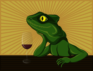 Lizard dreaming and drinking red wine. Pop Art vector illustration.