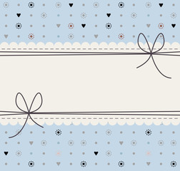 Decorative frame with cute flowers, polka dots, hearts and bows
