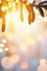 Christmas background with Christmas tree and holidays light