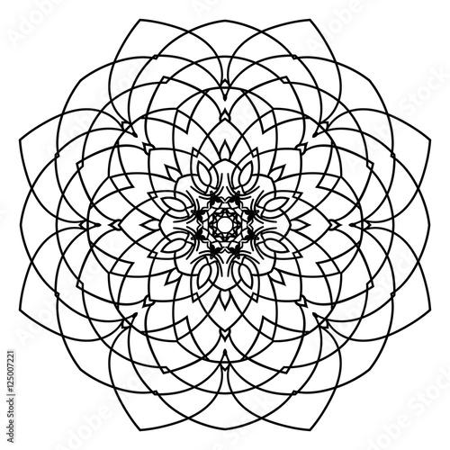 Mandala Floral Flower Oriental Coloring Book Page Circle Art Design Tattoo Print