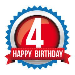 Four years happy birthday badge ribbon