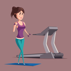 Woman or girl doing weight exercise near treadmill