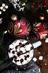 Hot Cocoa with Marshmallows and Chocolate Sauce
