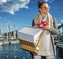 fashion-monger with Christmas present box looking into the dista