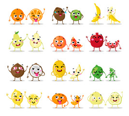 Funny cartoon fruit characters isolated. Big cute set. Fruit couples vector illustrations. Funny happy faces. Collection emotions. Beautiful sweet fruits. Flat design. Different emotions. Vector