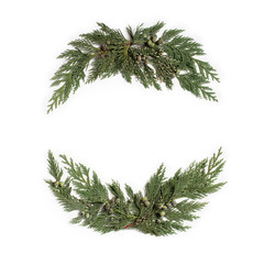 Christmas concept - frame wreath with evergreen Cupressus