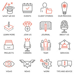 Vector set of 16 icons related to business management, marketing, maintain and service. Mono line pictograms and infographics design elements for app and web design navigation - part 1