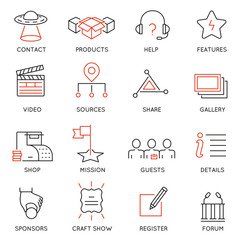 Vector set of 16 icons related to business management, marketing, maintain and service. Mono line pictograms and infographics design elements for app and web design navigation - part 2