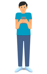 Man using a tablet or smartphone vector image