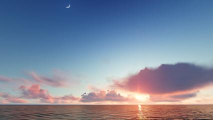 Beautiful blazing sunset landscape at sea 3D rendering