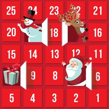Christmas Advent Calendar with Santa Claus, reindeer, snowman and gift. EPS 10 vector.