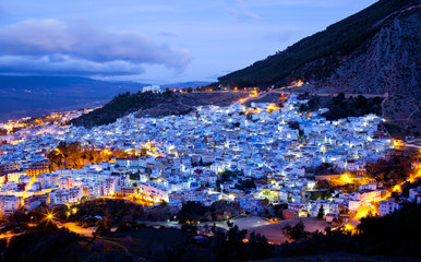 Panorama of blue Medina of Chefchaouen city at sunset in Morocco, Africa