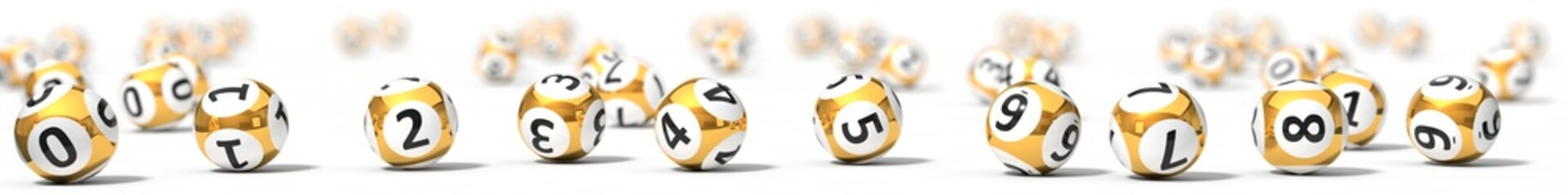 sorted lottery balls. 3d illustration.