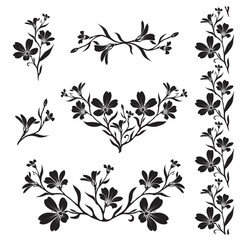 Chickweed graphic flower silhouettes