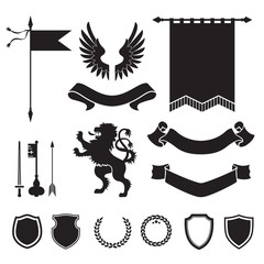 Heraldic silhouettes for signs and symbols