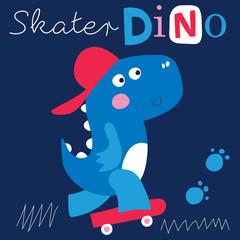 cool skater dinosaur character vector illustration