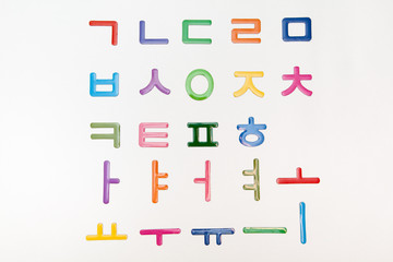 colorful korean letters, alphabet on white backgrounds