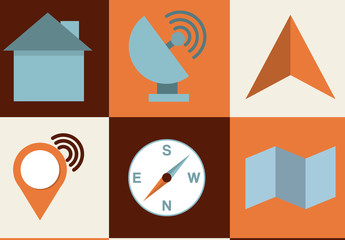 Modern and Retro GPS and Travel Icon Set