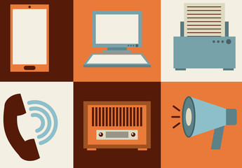 Modern and Retro Tech and Media Icon Set